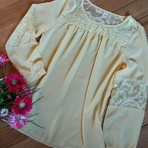 Light Yellow Boho Blouse Top with Lace Inserts